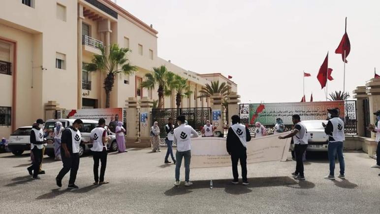 """تنسيقية الوعد تخرج في وقفة احتجاجية تحت شعار:"""" الميدان نبض المعطل"""""""