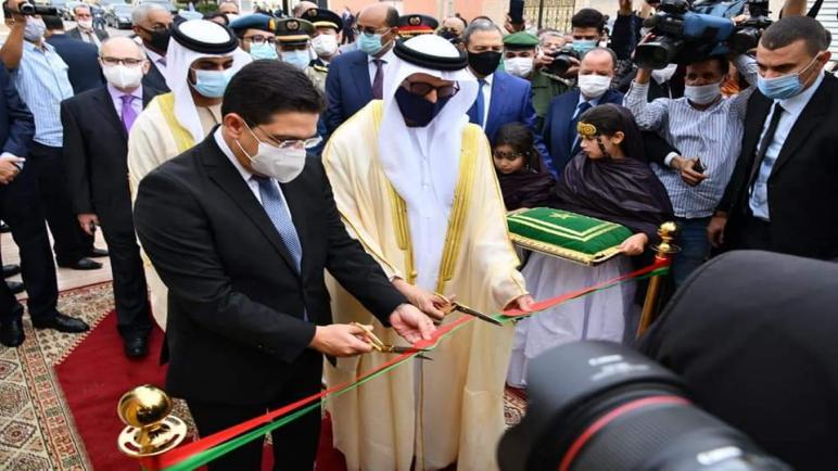 بوريطة و الظاهري يقصان الشريط الشرفي لقنصلية الإمارات بالصحراء