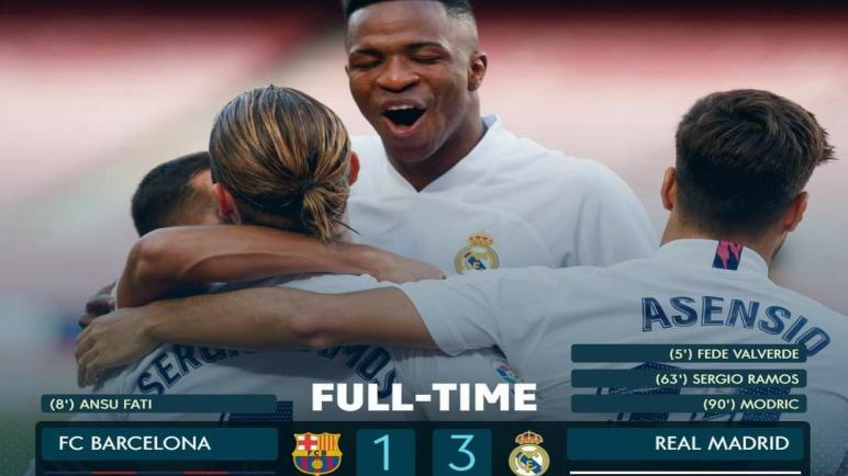كلاسيكو الأرض.. ريال مدريد يستعيد توازنه بدك شباك برشلونة بثلاثية