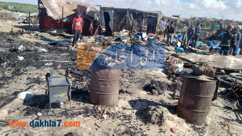 """حريق بقرية الصيد """"لاساركا"""" بالداخلة..أضرار مادية ولا خسائر في الأرواح"""
